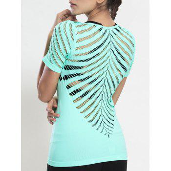 V Neck évider See-Through Gym Top - Vert Menthe S