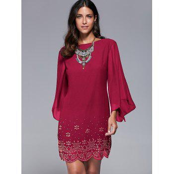 Rhinestone Embellished Bell Sleeve Dress