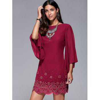 Rhinestone Embellished Bell Sleeve Dress - WINE RED WINE RED
