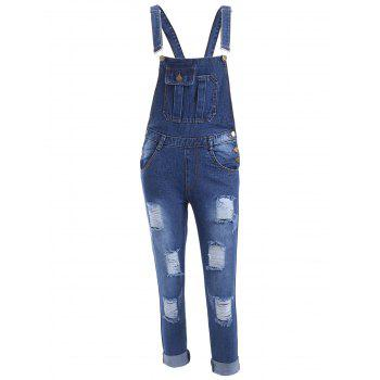 Pocket Design Ripped Racerback Overall Pants