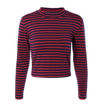 Mock Neck Long Sleeves Striped Tee