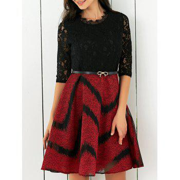Lace Splicing Printed Belted Dress