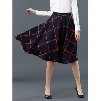 High Waist Plaid Pattern Flare Skirt