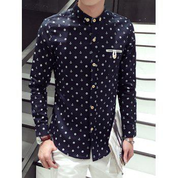 Turn-Down Collar Anchor Print Pocket Embellished Long Sleeve Button-Down Shirt