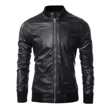 Zippered Rib Splicing Long Sleeves PU Leather Jacket