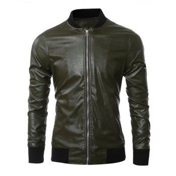 Stand Collar Zippered Rib Splicing PU Leather Jacket