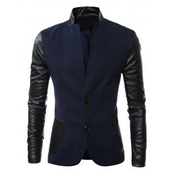 Slit Back Stand Collar Leather Spliced Woolen Jacket