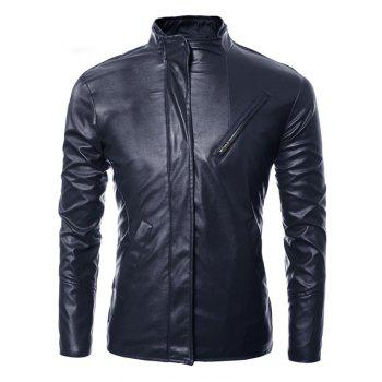 Long Sleeves Side Zip Up Faux Leather Jacket