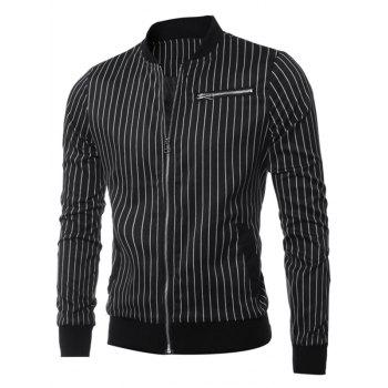 Vertical Striped Zippered Breast Pocket Long Sleeve Jacket