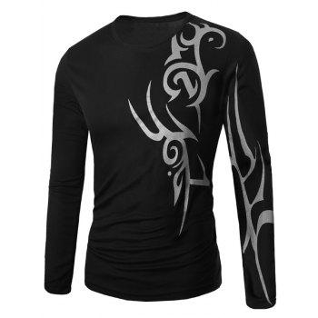 Long Sleeve Round Neck Abstract Pattern T-Shirt