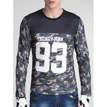 Round Neck Long Sleeve Camouflage and Letter Print Spliced Design Sweatshirt