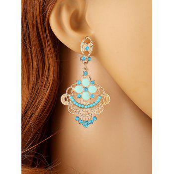 Rhinestone Hollow Out Floral Beads Earrings - LAKE BLUE