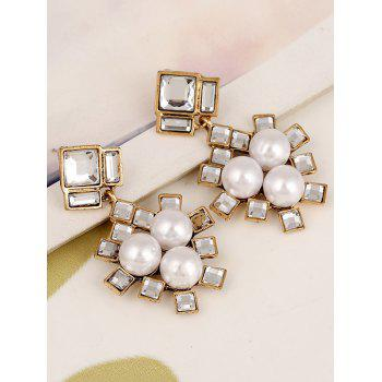 Faux Pearl Square Wedding Jewelry Earrings - YELLOW