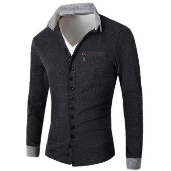 Zipper Embellished Turn-Down Collar Single Breasted Cardigan