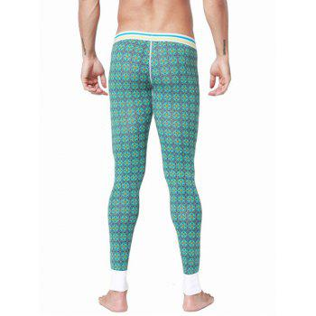 U Convex Pouch Spliced Geometric Printed Long Johns Pants - GREEN 2XL