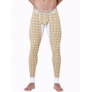 U Convex Pouch Spliced Geometric Printed Long Johns Pants