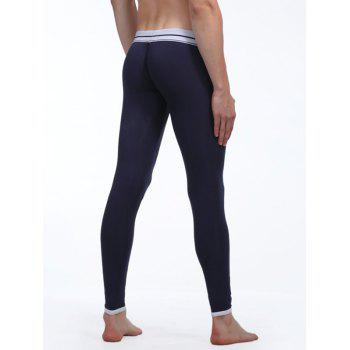 Color Block Suture Stripes Spliced U Convex Pouch Long Johns Pants - PURPLISH BLUE S