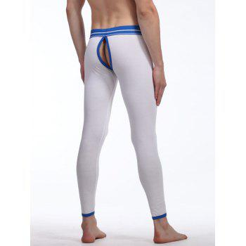 Cut Out Back Demountable U Pouch Design Striped Long Johns Pants - WHITE L