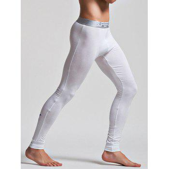 Color Block Letter and Star Print Band Long Johns Pants - WHITE XL