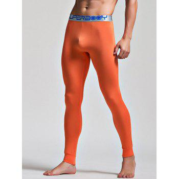 Color Block Letter and Star Print Band Long Johns Pants