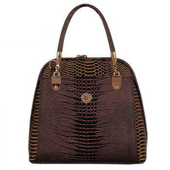 Stylish Style Snake Print and PU Leather Design Tote Bag For Women - BROWN BROWN