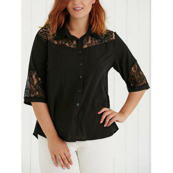 Plus Size Lace Spliced Hollow Out Blouse