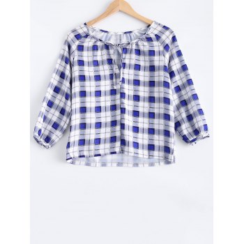 Asymmetric Hem Plaid Tee