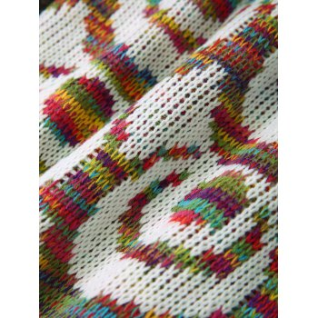 Soft Knitting Colorful Round Pattern Mermaid Shape Blanket - WHITE