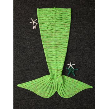 Crochet Knitting Open-Work Design Mermaid Tail Shape Blanket