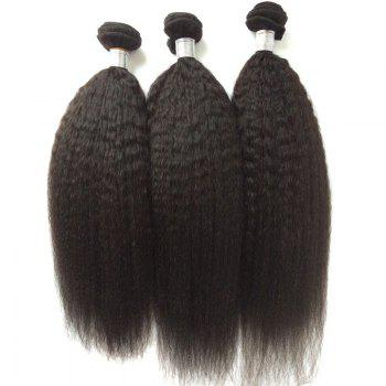 1Pcs Kinky Straight Indian 5A Remy Hair Weave - BLACK BLACK