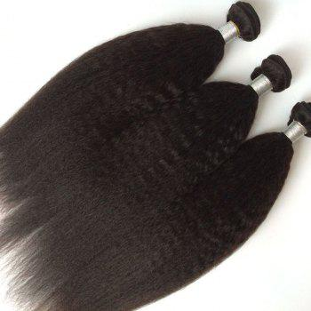 1Pcs Kinky Straight Indian 5A Remy Hair Weave - BLACK 12INCH