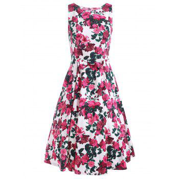 Sleeveless Flower Print A Line Dress
