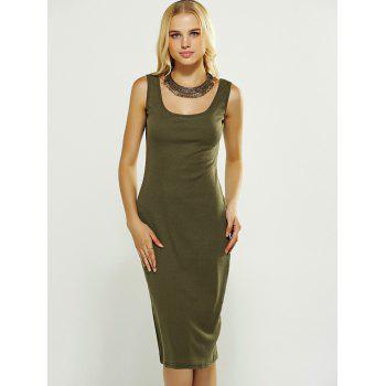 Sleeveless Bodycon Knitted Vest Dress - BLACKISH GREEN XL
