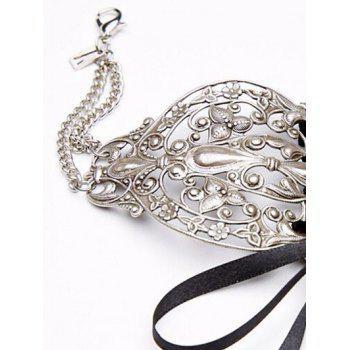 Lace Up Filigree Alloy Choker Necklace - SILVER