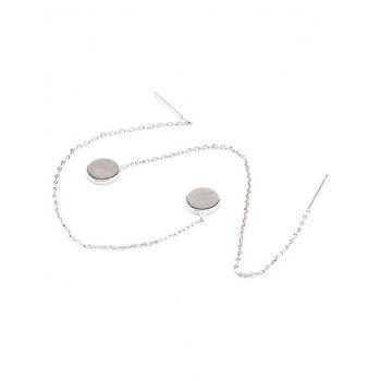 Pair of Round Pendant Long Chain Ear Threads - SILVER