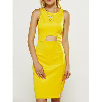 Sleeveless Faux Leather Panel Sheath Dress