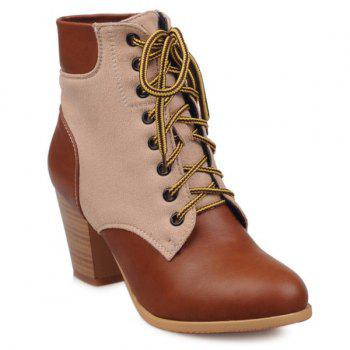 Splicing Wooden Heel Lace-Up Ankle Boots