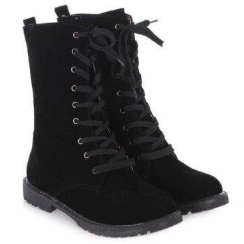 Folded Lace-Up Suede Flat Mid Boots