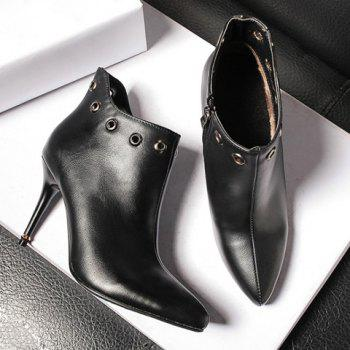 Zip Pointed Tote Stiletto Heel Rivet Ankle Boots