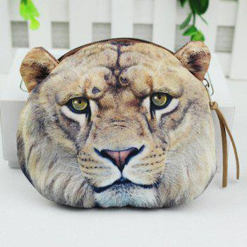 Zipper 3D Tiger Coin Bag - GRAY GRAY