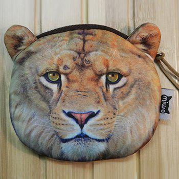 Zipper 3D Tiger Coin Bag -  GRAY