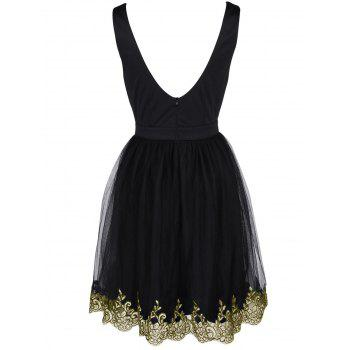 Alluring Women's Floral Embroidered Lace Spliced Dress - BLACK L