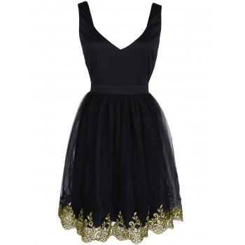 Alluring Women's Floral Embroidered Lace Spliced Dress - BLACK BLACK