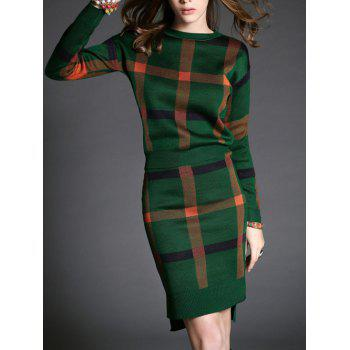 Long Sleeve Colorful Plaid Top and Skirt