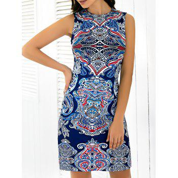Abstract Printing Sleeveless Skinny Dress