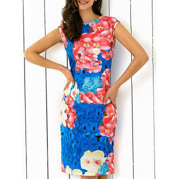 Abstract Floral Printing Skinny Dress