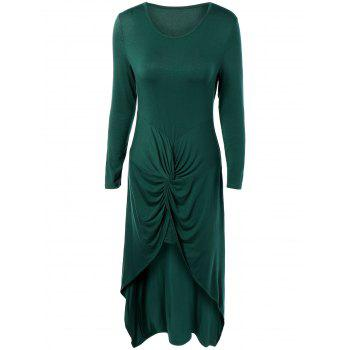 Long Sleeve High Low Front Knot Maxi Dress
