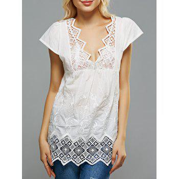 Crochet Spliced Openwork Embroidered Blouse