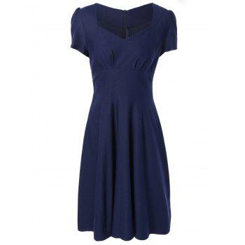 High Waist Short Sleeves Shirred Swing Dress