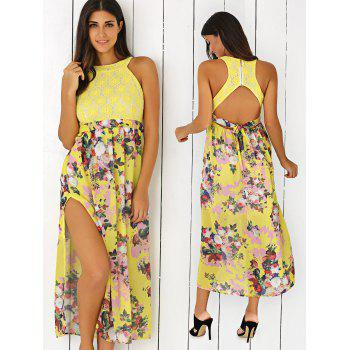 Floral Print Side Slit Cut Out Maxi Dress